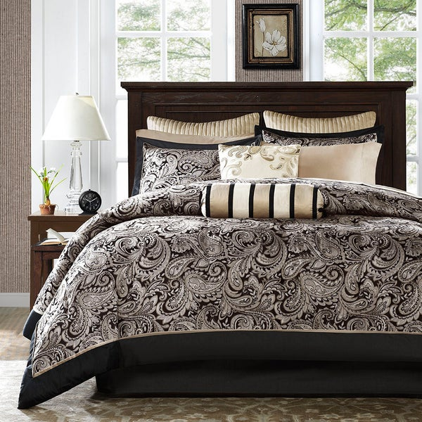 Madison Park Wellington Black 12-piece Complete Bed Set