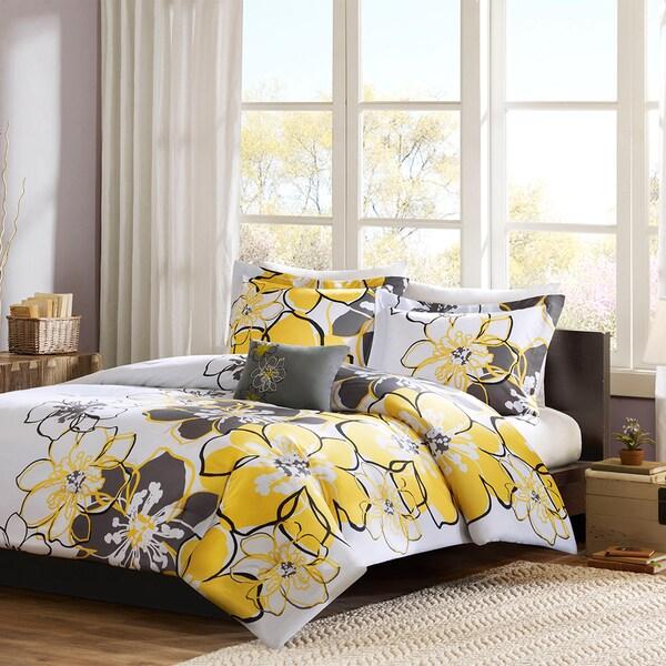 Mi Zone Mackenzie White/Grey/Yellow 4-piece Comforter Set