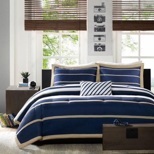 Mi Zone Garrett Navy Printed Mini Comforter Set