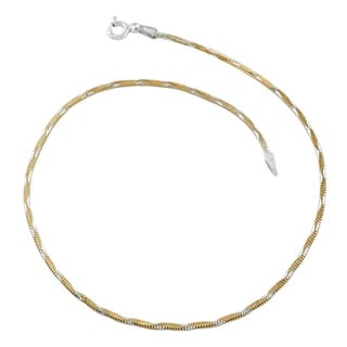 Fremada Two-tone Gold over Sterling Silver Wave Square Snake Anklet