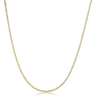 Fremada Two-tone Gold over Silver 1.3 millimeter Square Snake Chain Necklace