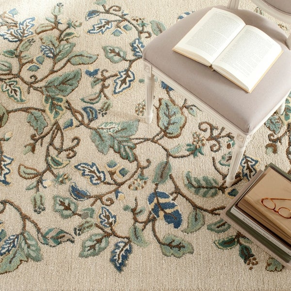 Martha Stewart by Safavieh Autumn Woods Colonial Blue Wool/ Viscose Rug - 9'6 x 13'6