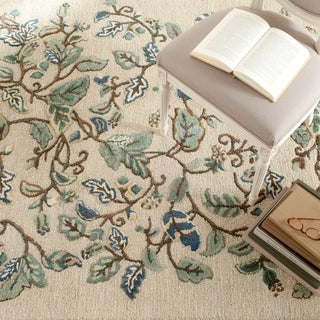 Martha Stewart Autumn Woods Colonial Blue Wool/ Viscose Rug (4'x 6')