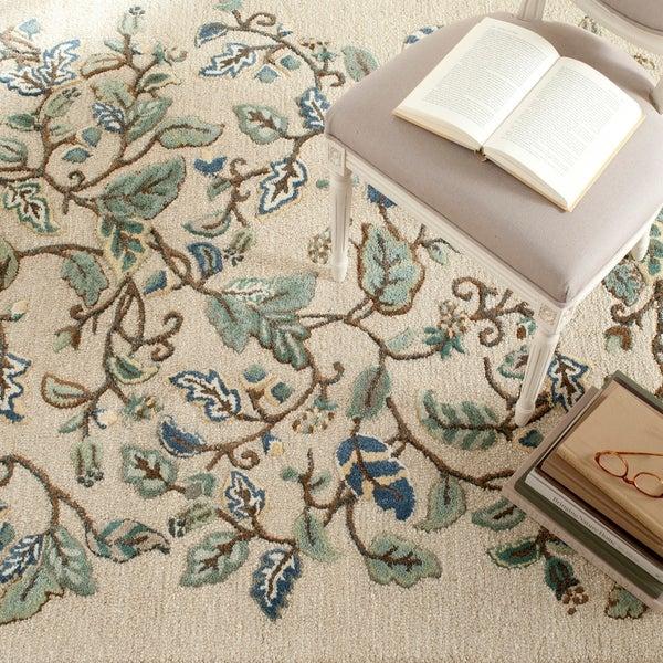 Martha Stewart by Safavieh Autumn Woods Colonial Blue Wool/ Viscose Rug - 9' x 12'