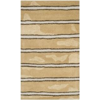 Martha Stewart Chalk Stripe Toffee Gold Wool/ Viscose Rug (2'6 x 4'3)