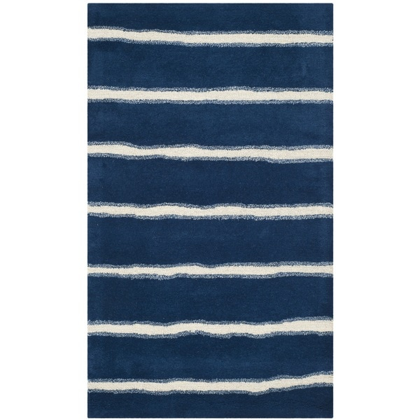 Martha Stewart by Safavieh Chalk Stripe Wrought Iron Navy Wool/ Viscose Rug (3'x 5')