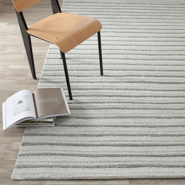 Martha Stewart by Safavieh Hand Drawn Stripe Nimbus Cloud Grey Wool/ Viscose Rug (2'6 x 4'3) - 2'6 x 4'3