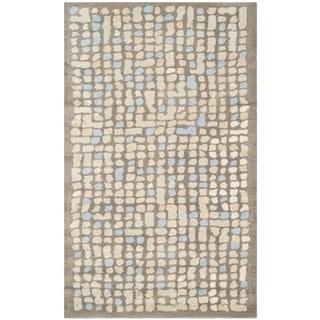 Martha Stewart Mosaic Hickory/ Beige Wool/ Viscose Rug (3'x 5')