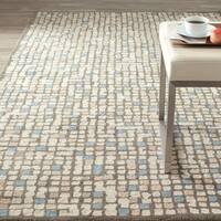 Martha Stewart by Safavieh Mosaic Hickory/ Beige Wool/ Viscose Rug - 3' x 5'