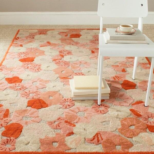 Martha Stewart by Safavieh Poppy Field Cayenne Red Wool/ Viscose Rug (2'6 x 4'3)