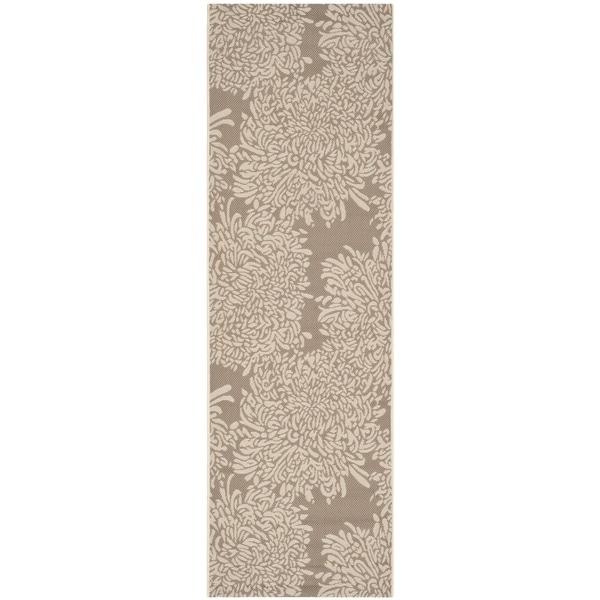 Martha Stewart by Safavieh Chrysanthemum Dark Beige/ Beige Indoor/ Outdoor Rug (2'7 x 8'2)