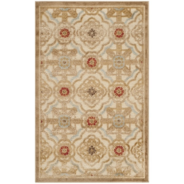 Martha Stewart by Safavieh Imperial Palace Taupe/ Cream Viscose Rug (2'7 x 4')