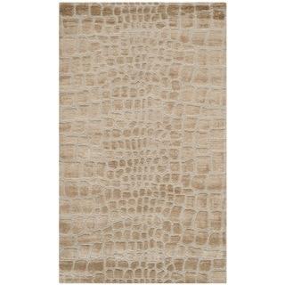 Martha Stewart Amazonia Raft/ Beige Silk Blend Rug (3'9 x 5'9)