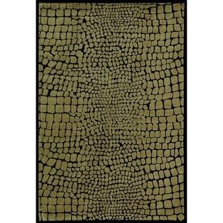 Martha Stewart Amazonia Crocodile/ Green Silk Blend Rug (9'6 x 13'6)