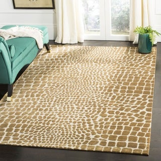 Martha Stewart by Safavieh Amazonia Crocodile/ Beige Silk Blend Rug (7'9 x 9'9)
