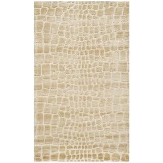 Martha Stewart Amazonia Meerkat/ Brown Silk Blend Rug (3'9 x 5'9)