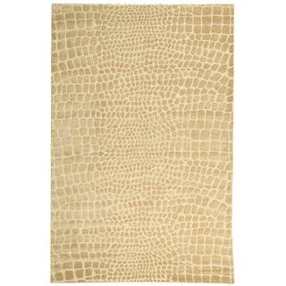 Martha Stewart Amazonia Meerkat/ Brown Silk Blend Rug (7'9 x 9'9)