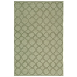 Martha Stewart Quatrefoil Mist Silk/ Wool Rug (7'9 x 9'9)