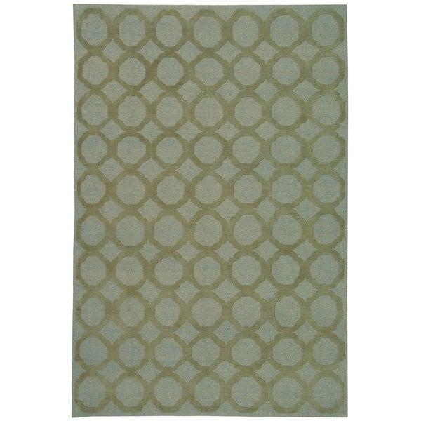 Martha Stewart by Safavieh Quatrefoil Blue/ Maize Silk/ Wool Rug - 7'9 x 9'9