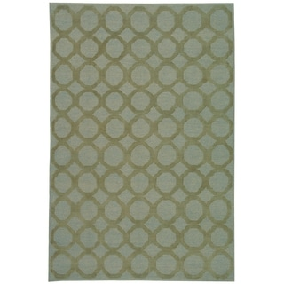 Martha Stewart by Safavieh Quatrefoil Blue/ Maize Silk/ Wool Rug (8'6 x 11'6)