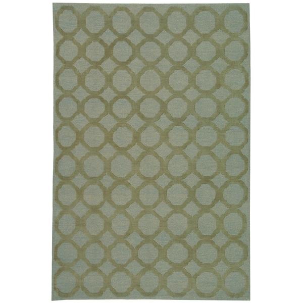 Martha Stewart by Safavieh Quatrefoil Blue/ Maize Silk/ Wool Rug - 8'6 x 11'6