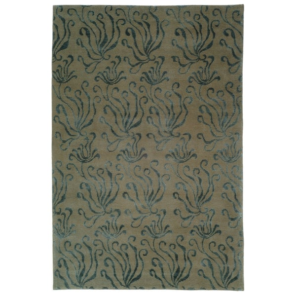 Martha Stewart by Safavieh Seaflora Lagoon Silk/ Wool Rug - 7'9 x 9'9