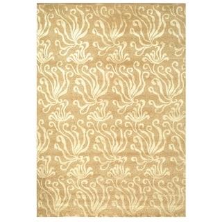 Martha Stewart Seaflora Sand Silk/ Wool Rug (7'9 x 9'9)