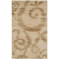 Martha Stewart by Safavieh Damask Vine Raw Umber Silk/ Wool Rug - 2'6 x 4'3