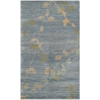 Martha Stewart by Safavieh Trellis Blue/ Quartz Wool Rug (2'6 x 4'3)