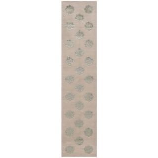 Martha Stewart by Safavieh Medallions Aqua/ Marine Silk/ Wool Rug (2'3 x 10')