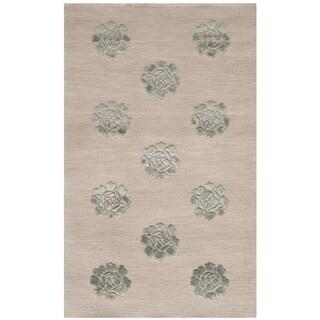 Martha Stewart Medallions Aqua/ Marine Silk/ Wool Rug (2'6 x 4'3)