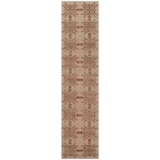 Martha Stewart Tracery Rose/ Wood Silk/ Wool Rug (2'3 x 10')
