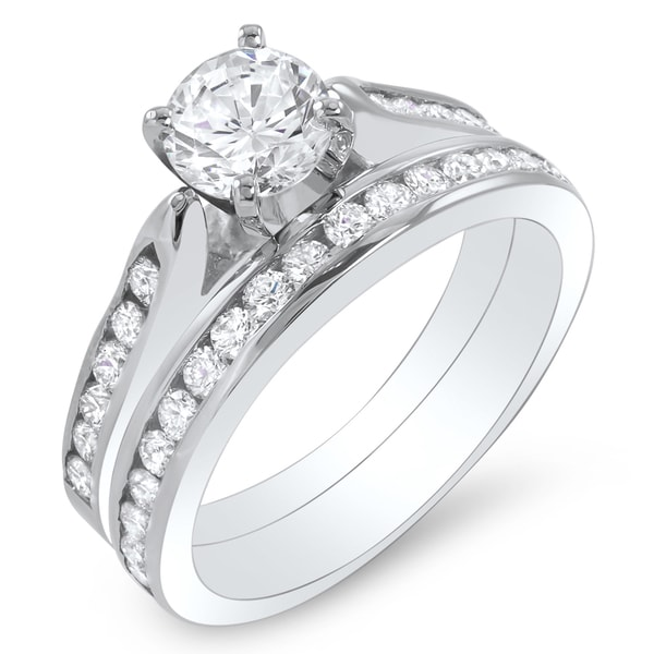 14k White Gold 1 4/5ct TDW Certified Diamond Bridal Ring Set (G-H, SI1-SI2)