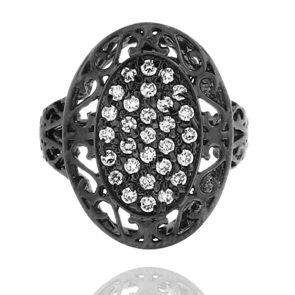 Black-plated Sterling Silver Cubic Zirconia Oval Filigree Ring