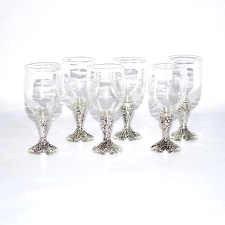High End Cordial Glass Shot Glasses with Silver Base (Set of 6)