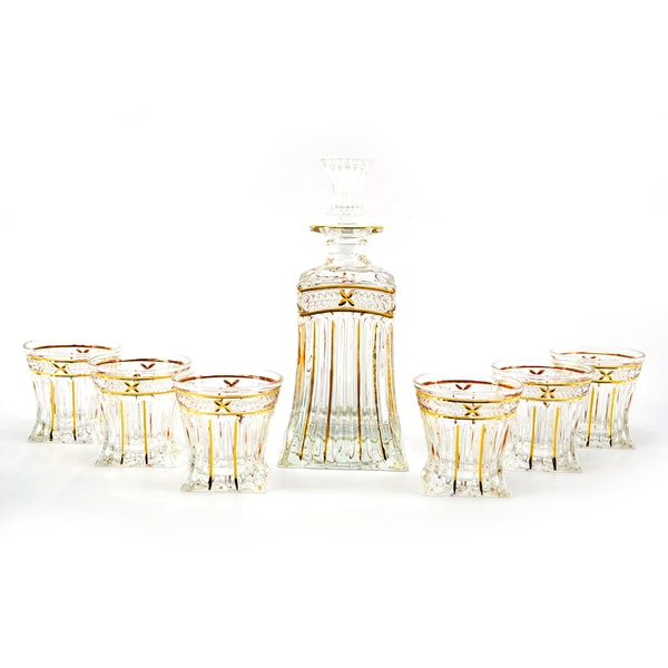 Seven-Piece Clear Glass Bottle and Shot Glass Liquor Set