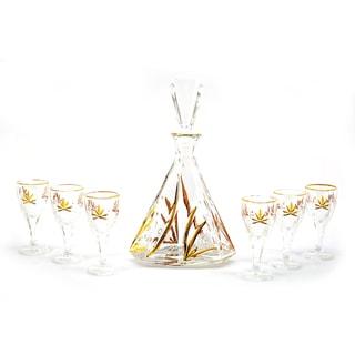 7-piece Glass Bottle and Shot Glass Liquor Set