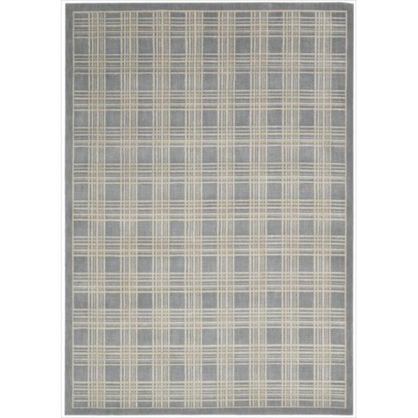 Kailash Plaid Print Blue Rug - 7'9 x 10'10