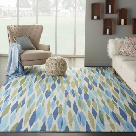 "Waverly Sun N' Shade Bits & Pieces Seaglass Area Rug by Nourison - 5'3"" x 7'5"""
