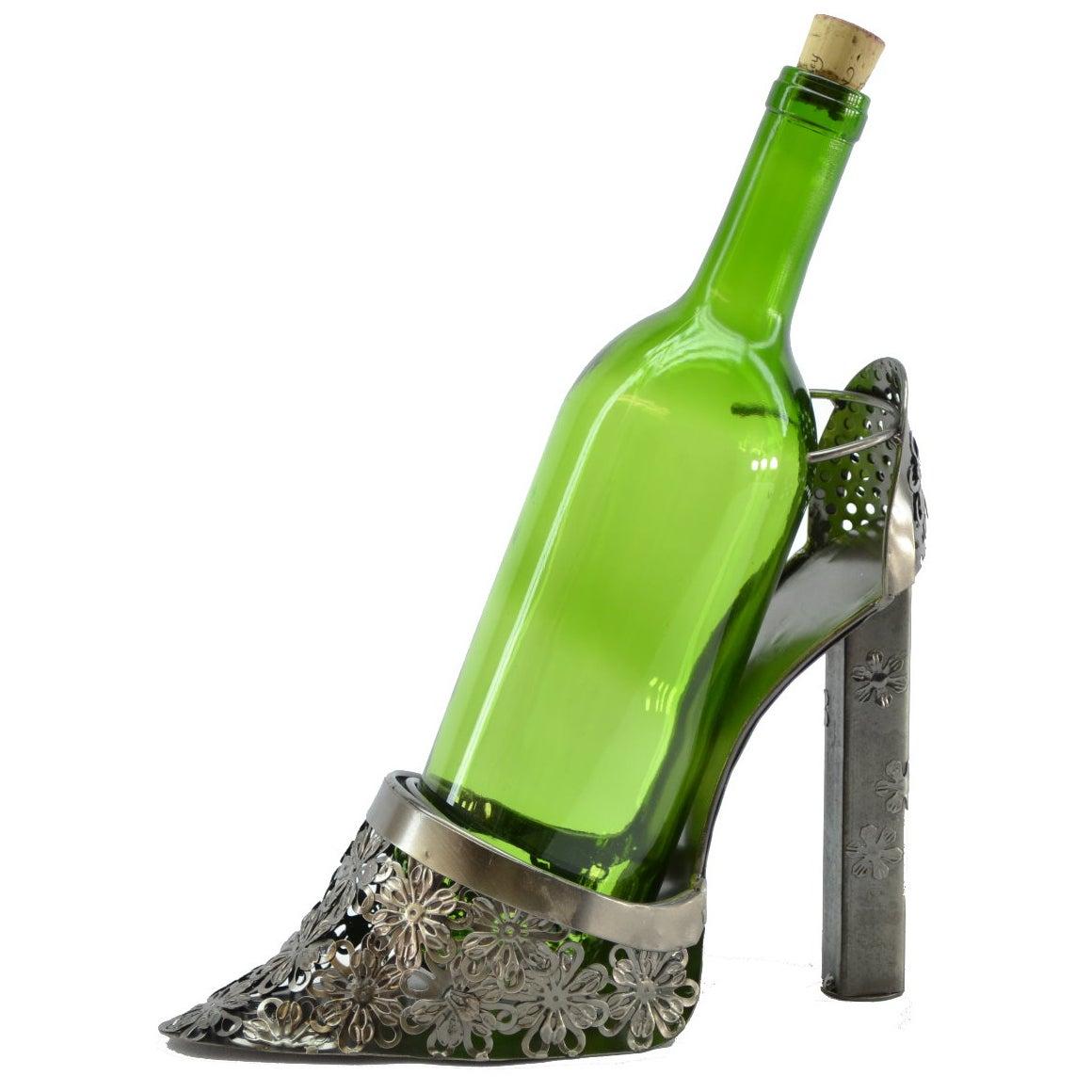 Lady Heel Shoe Metal Wine Bottle Holder (ZB885), Silver