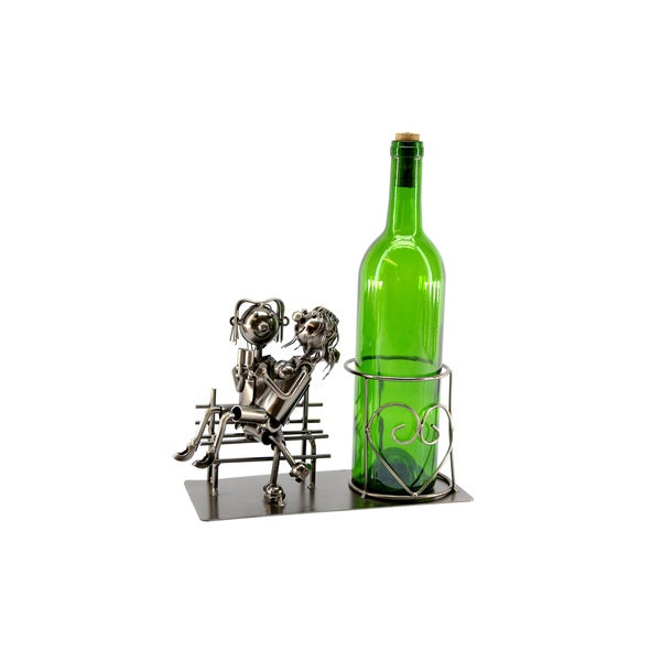 Wine Caddy Lovers on Bench Wine Bottle Holder