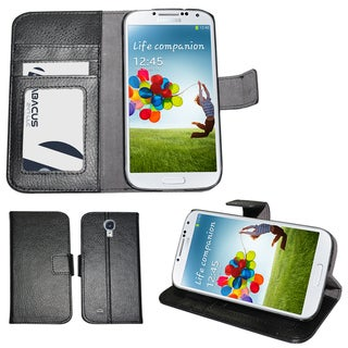 Black Wallet Case Cover for Samsung Galaxy S4/SIV i9500 with CC/ID Secure Sleeve