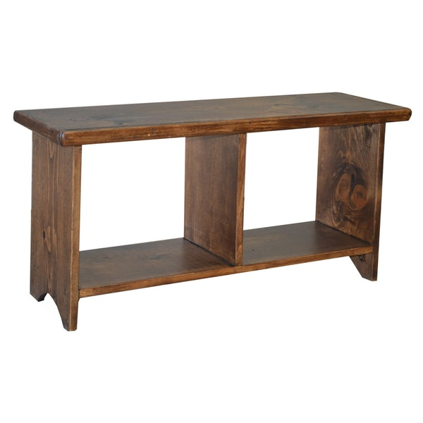 Lovely Rustic Pine 2 Cubby Storage Bench