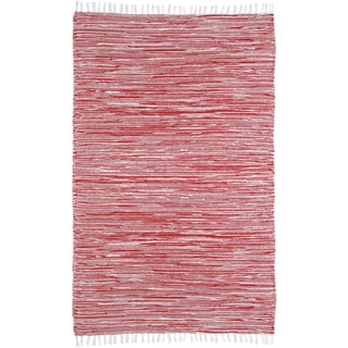 Red Reversible Chenille Flat Weave Rug - 5' x 8'