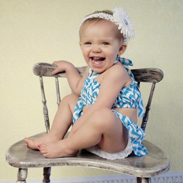 Chevron Print Baby Swimsuit