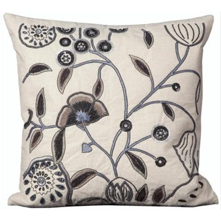 Mina Victory Luminescence Floral Ivory Throw Pillow (20-inch x 20-inch) by Nourison
