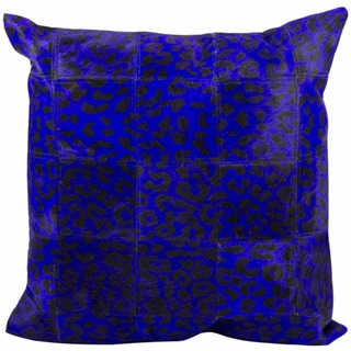 Mina Victory Natural Leather and Hide Leopard Print Purple Throw Pillow (20-inch x 20-inch) by Nourison