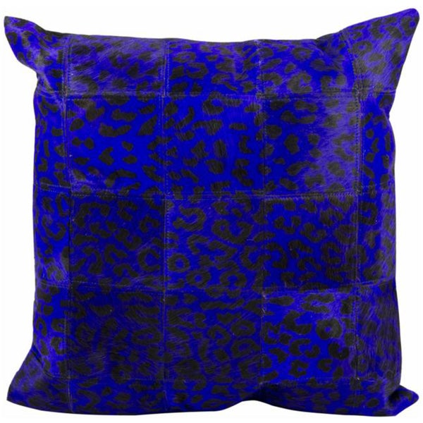 Mina Victory Natural Leather and Hide Leopard Print Purple Throw Pillowby Nourison (20-Inch X 20-Inch)