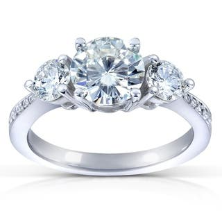Annello by Kobelli 14k White Gold 1 3/5ct TGW Moissanite (HI) and Diamond 3-Stone Engagement Ring|https://ak1.ostkcdn.com/images/products/7912649/P15291121.jpg?impolicy=medium