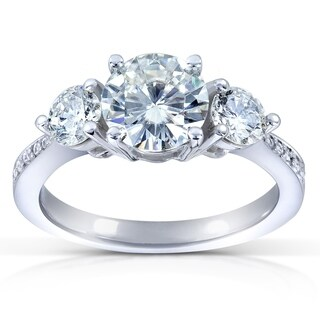 Annello by Kobelli 14k White Gold 1 3/5ct TGW Moissanite (HI) and Diamond 3-Stone Engagement Ring